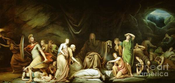 The Print featuring the painting The Court Of Death by Rembrandt Peale