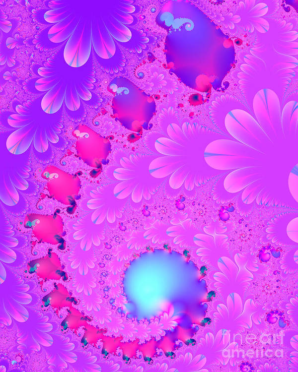 Fractal Print featuring the digital art The Enchanted Forest . Version 2 . S8 by Wingsdomain Art and Photography