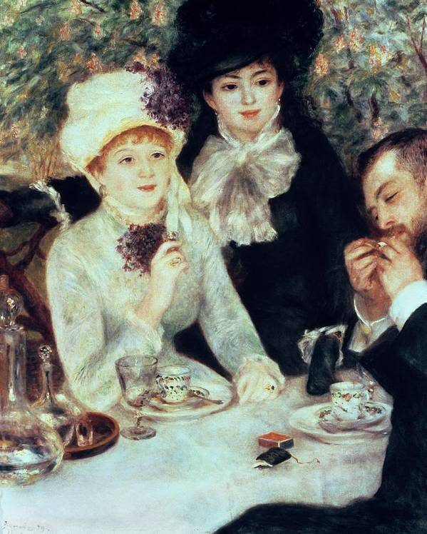 The Print featuring the painting The End Of Luncheon by Pierre Auguste Renoir