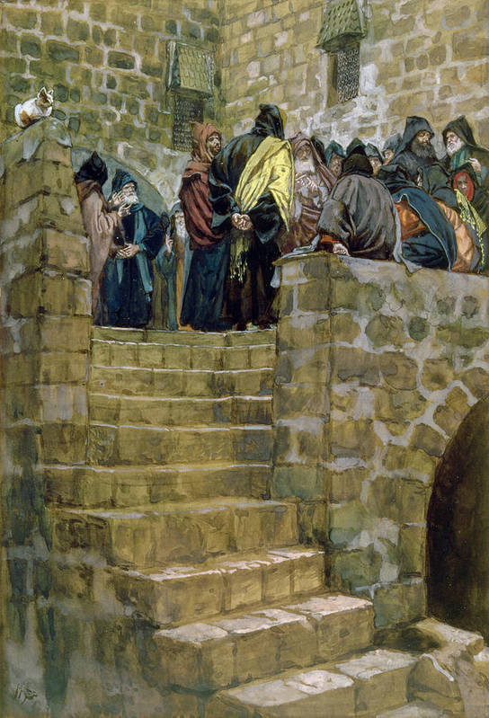 The Print featuring the painting The Evil Counsel Of Caiaphas by Tissot