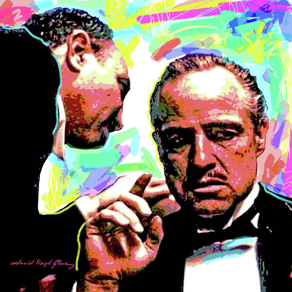 Movie Stars Print featuring the painting The Godfather - Marlon Brando by David Lloyd Glover