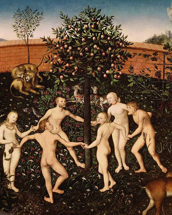The Print featuring the painting The Golden Age by Lucas Cranach