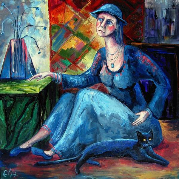 Reality Print featuring the painting The Jeans Girl. 20 Years Later by Elisheva Nesis