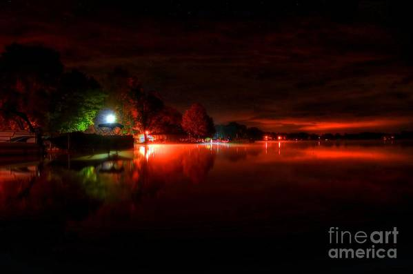 Night Print featuring the photograph The Lake At Nightfall by Michael Garyet