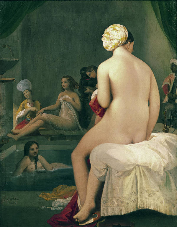 The Print featuring the painting The Little Bather In The Harem by Jean Auguste Dominique Ingres