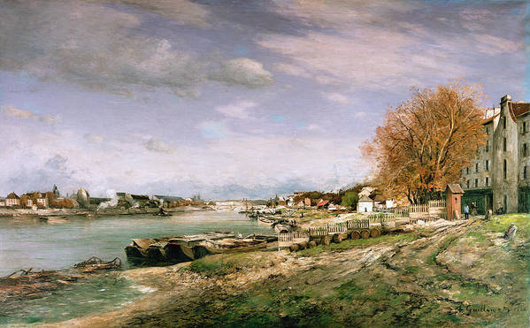 The Print featuring the painting The Old Quay At Bercy by Jean Baptiste Armand Guillaumin
