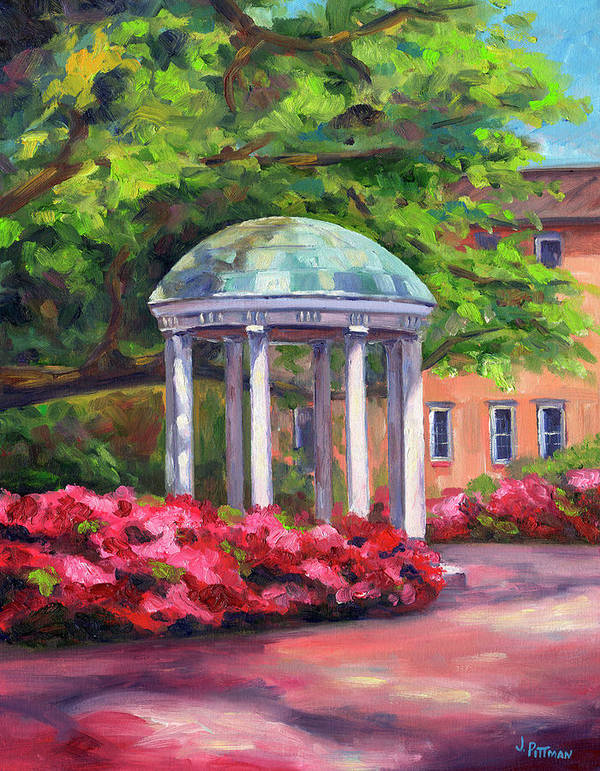 University Of North Carolina At Chapel Hill Print featuring the painting The Old Well Unc by Jeff Pittman