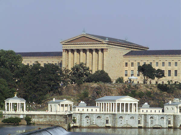 The Philly Art Museum And Waterworks Print featuring the photograph The Philly Art Museum And Waterworks by Bill Cannon