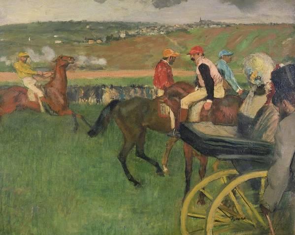The Race Course - Amateur Jockeys Near A Carriage Print featuring the painting The Race Course by Edgar Degas