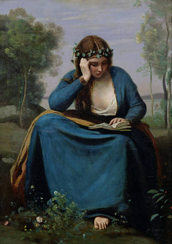 The Reader Crowned With Flowers Print featuring the painting The Reader Crowned With Flowers by Jean Baptiste Camille Corot