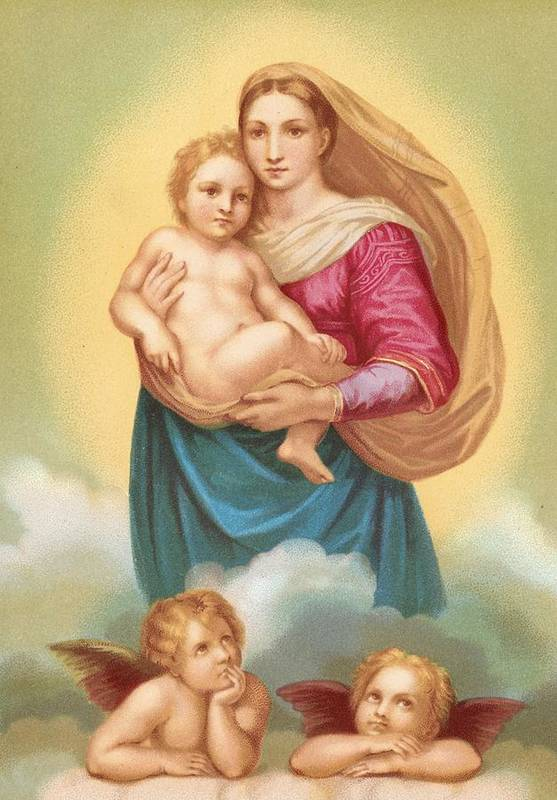 The Sistine Madonna Print featuring the painting The Sistine Madonna by Raphael