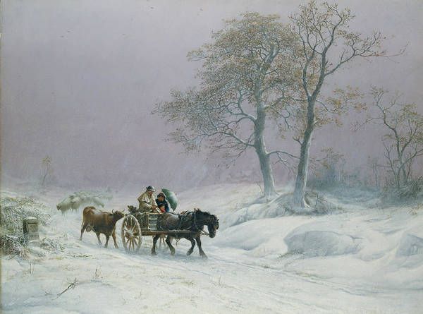 The Print featuring the painting The Wintry Road To Market by Thomas Sidney Cooper
