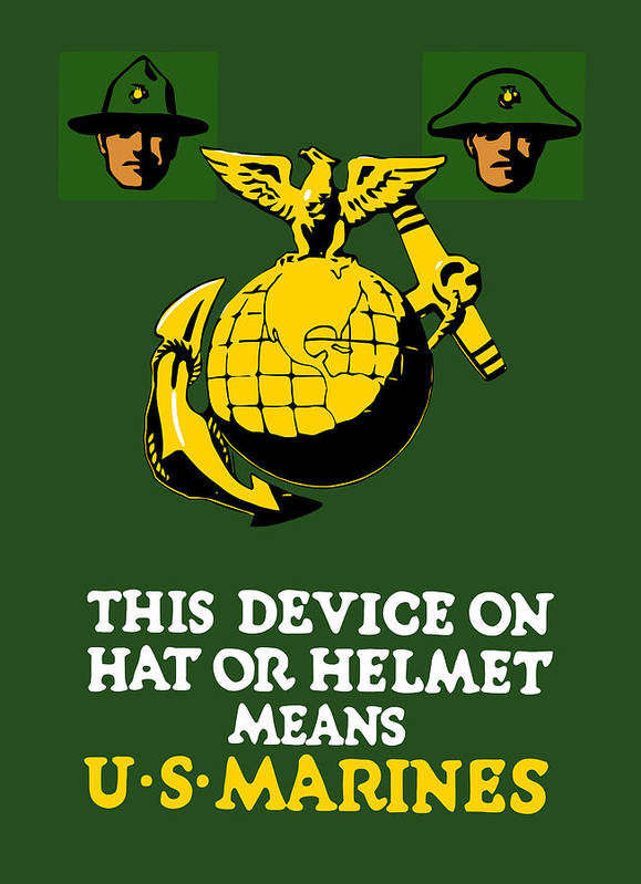 Marines Print featuring the painting This Device Means Us Marines by War Is Hell Store