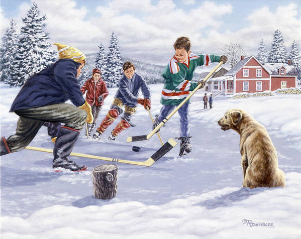 Hockey Print featuring the painting This Time For Sure by Richard De Wolfe