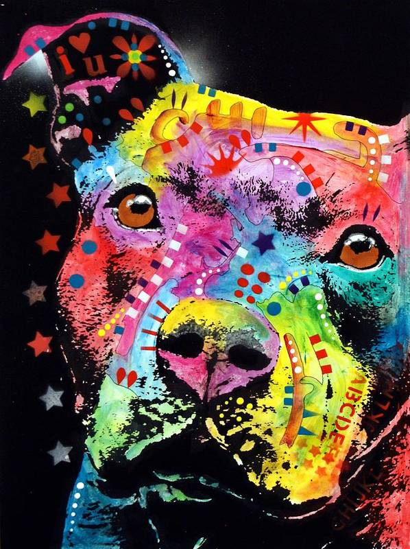 Pit Bull Print featuring the painting Thoughtful Pitbull I Heart U by Dean Russo