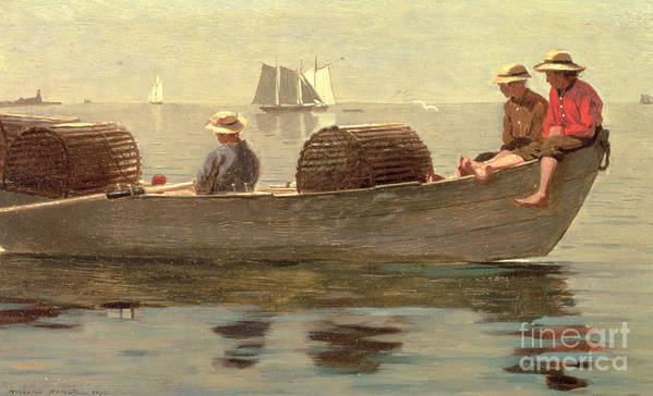 Boat Print featuring the painting Three Boys In A Dory by Winslow Homer
