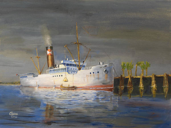 Steamship Print featuring the painting Three Degrees North by Christopher Jenkins