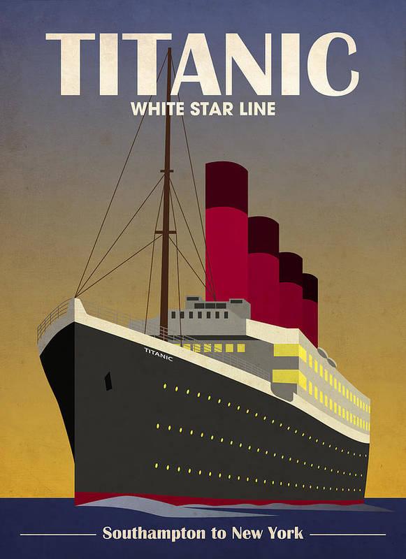 Titanic Print featuring the digital art Titanic Ocean Liner by Michael Tompsett