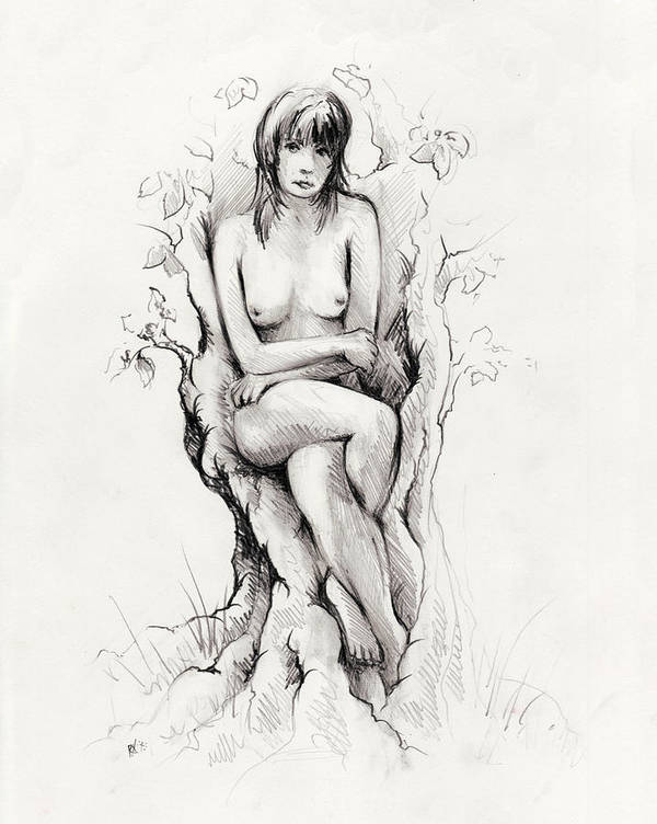 Figure Print featuring the drawing To Remain by Rachel Christine Nowicki