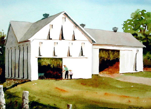 Tobacco Print featuring the painting Tobacco Barn by Dale Ziegler