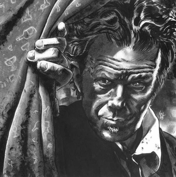 Musicians Print featuring the drawing Tom Waits by Ken Meyer jr