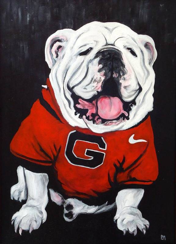 Bulldog Print featuring the painting Top Dawg by Pete Maier
