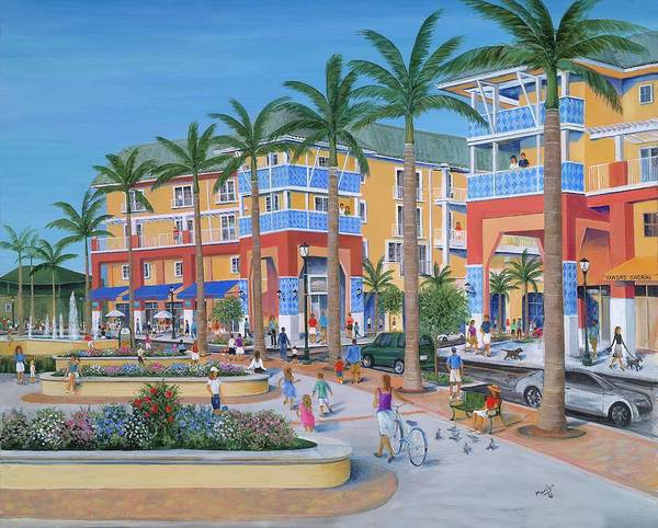 Jupiter Florida Print featuring the painting Town Center Abacoa Jupiter by Marilyn Dunlap