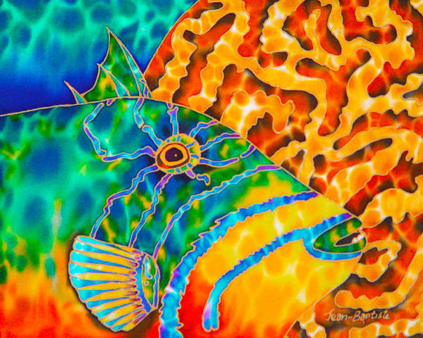 Triggerfish Painting Print featuring the painting Trigger And Brain Coral by Daniel Jean-Baptiste