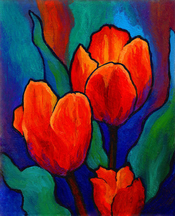 Floral Print featuring the painting Tulip Trio by Marion Rose