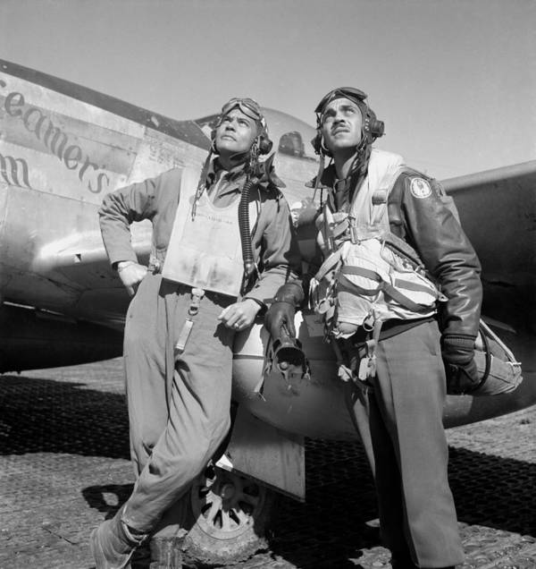 Benjamin Davis Print featuring the photograph Tuskegee Airmen by War Is Hell Store