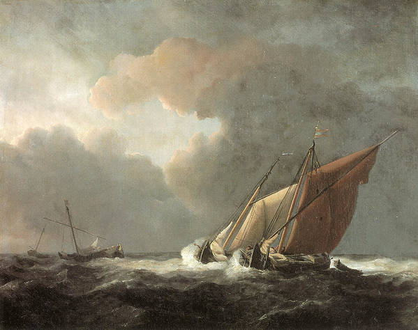 Willem Van De Velde The Younger Print featuring the painting Two Dutch Vessels Close-hauled In A Strong Breeze by Willem van de Velde the Younger
