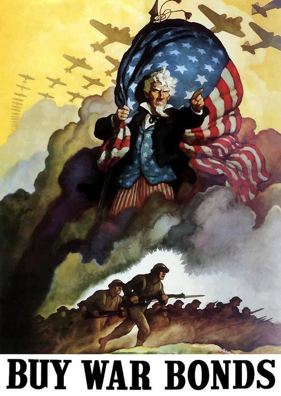 Uncle Sam Print featuring the painting Uncle Sam - Buy War Bonds by War Is Hell Store
