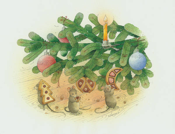 Christmas Greeting Cards Tree Green Mouse Print featuring the painting Under The Christmas Tree by Kestutis Kasparavicius
