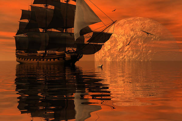 Bryce 3d Scifi Fantasy  Dolphin tall Ship Windjammer \sailing Ship\ Sailing Print featuring the digital art Unexplored Waters by Claude McCoy