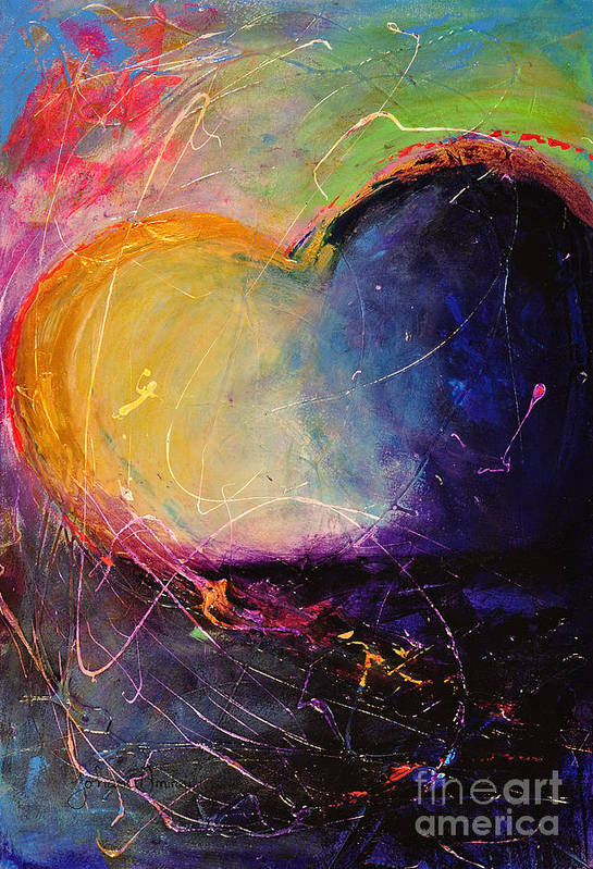 Heart Print featuring the painting Unrestricted Heart Sunset Colors by Johane Amirault