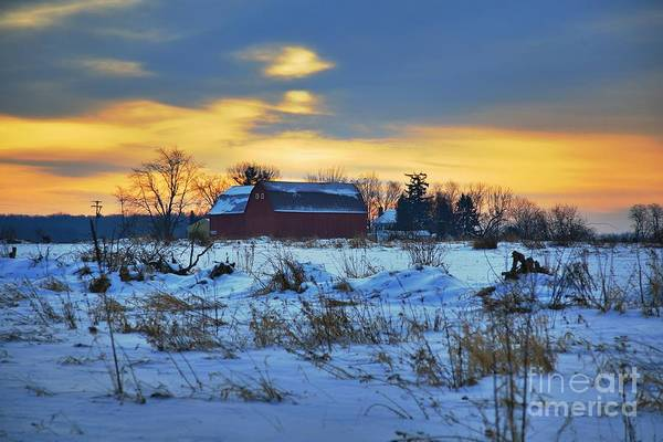 Michigan Farm Winter Cold Morning Related Tags: Barns Artwork Print featuring the photograph Until Spring by Robert Pearson