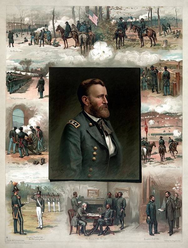 President Grant Print featuring the painting Us Grant's Career In Pictures by War Is Hell Store