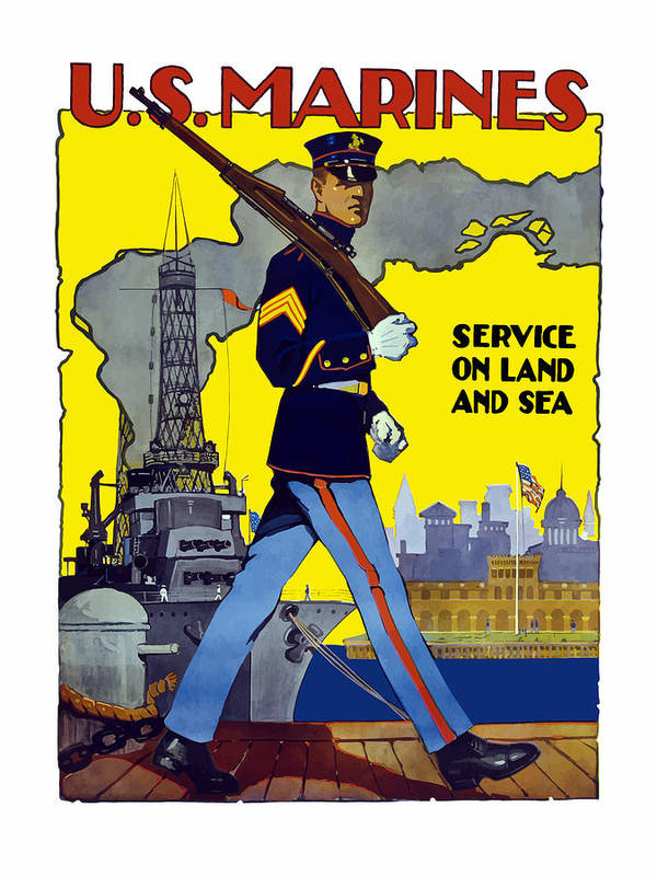 Marines Print featuring the painting U.s. Marines - Service On Land And Sea by War Is Hell Store