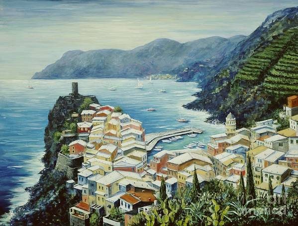 Vernazza Print featuring the painting Vernazza Cinque Terre Italy by Marilyn Dunlap