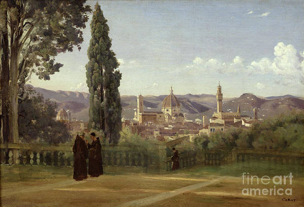 View Print featuring the painting View Of Florence From The Boboli Gardens by Jean Baptiste Camille Corot