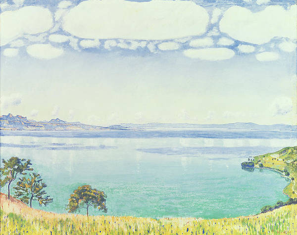 View Print featuring the painting View Of Lake Leman From Chexbres by Ferdinand Hodler