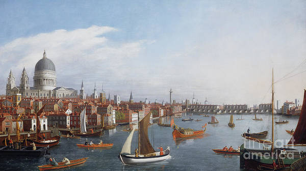 View The River Thames With Paul And Old London Bridge Print featuring the painting View Of The River Thames With St Paul's And Old London Bridge  by William James