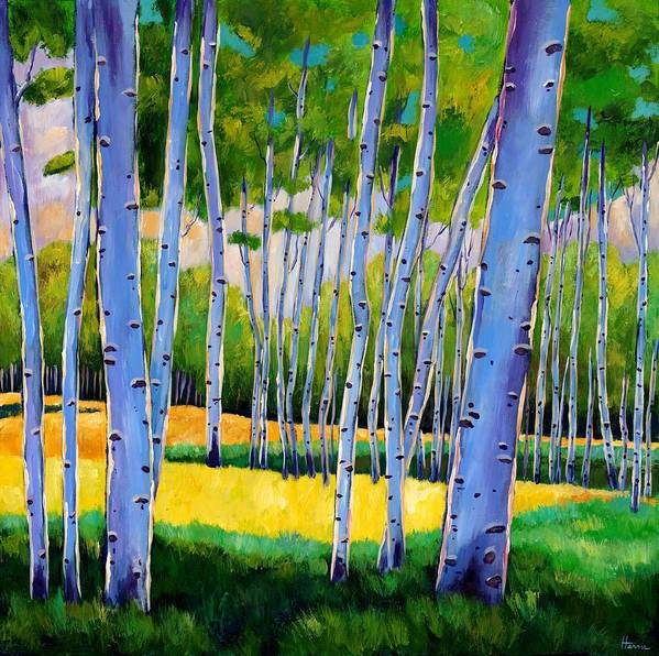 Landscapes Print featuring the painting View Through Aspen by Johnathan Harris
