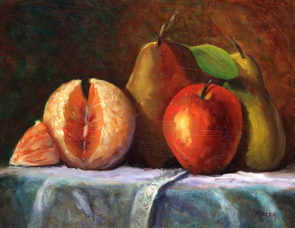 Fruit Painting Print featuring the painting Vintage-fruit by Linda Hiller