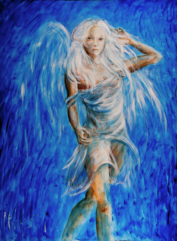 Angel Print featuring the painting Viva Forever by Nik Helbig