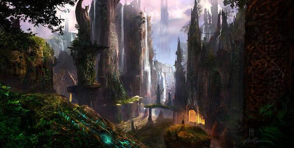 Waterfall Celtic Ruins Print by Alex Ruiz