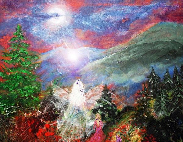 Angel Print featuring the painting When I Was Nine by Patricia Motley