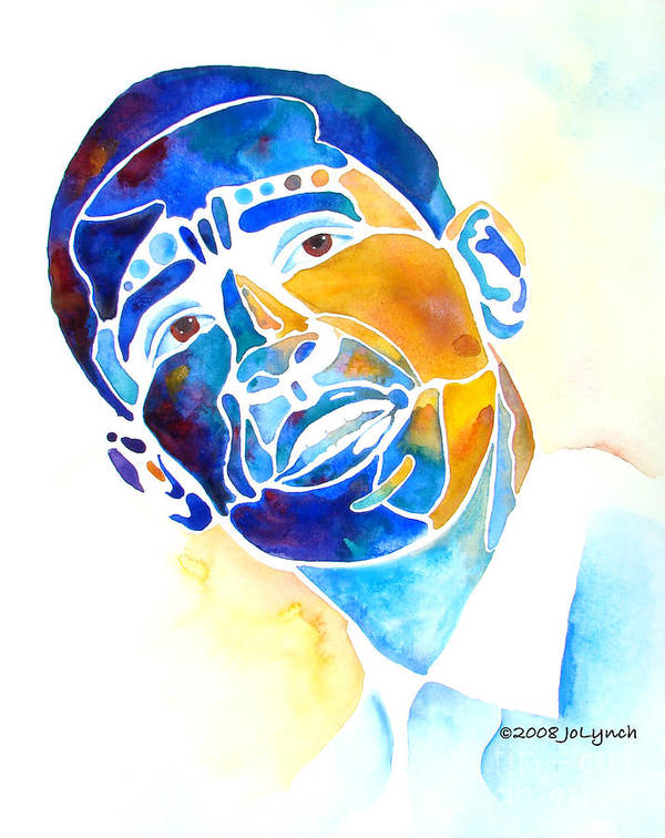 Obama Print featuring the painting Whimzical Obama by Jo Lynch