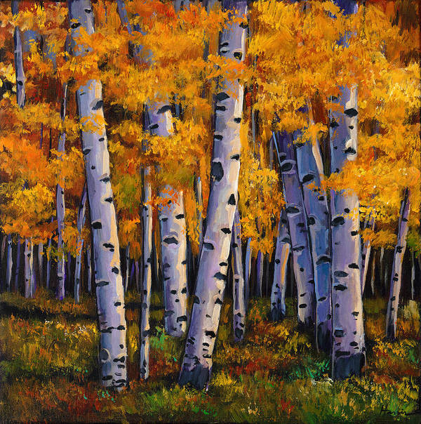 Autumn Aspen Print featuring the painting Whispers by Johnathan Harris