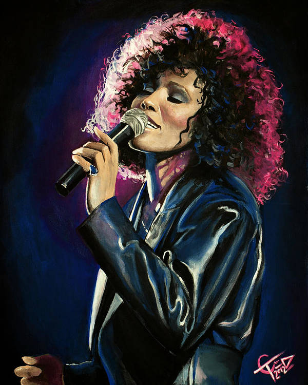Whitney Houston Print featuring the painting Whitney Houston by Tom Carlton